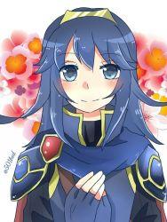 1girl artist_request blue_eyes blue_hair blush breasts female fire_emblem fire_emblem:_kakusei lucina nintendo smile tiara