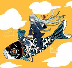 2boys artist_name cloud dated japanese_clothes kodomo_no_hi koinobori kousetsu_samonji l_hakase male_focus multiple_boys sayo_samonji simple_background touken_ranbu twitter_username yellow_background yellow_sky
