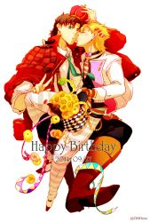 2boys blonde_hair bouquet bowtie brown_hair caesar_anthonio_zeppeli cheek_kiss flower green_eyes hat jacket jojo_no_kimyou_na_bouken joseph_joestar_(young) kiss multiple_boys necktie red_jacket sunflower zino