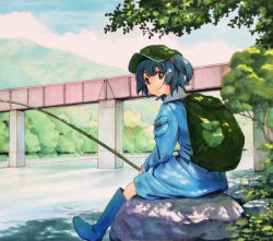 1girl backpack bag blue_dress blue_eyes blue_hair blue_sky boots bridge cloud dress fishing fishing_rod forest hair_bobbles hair_ornament kawashiro_nitori long_sleeves looking_at_viewer marker_(medium) millipen_(medium) mountain nature river rubber_boots shiratama_(hockey) sitting_on_rock sky smile solo touhou traditional_media tree twintails