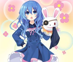 >:o 1girl :o blue_dress blue_eyes blue_hair blush bunny collarbone date_a_live dress eyepatch flower gradient gradient_background hand_on_hip hand_puppet long_hair long_sleeves official_art puppet ribbon tsunako wing_collar yoshino_(date_a_live) yoshinon