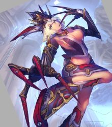 1girl armor armpits breasts claws commentary_request copyright_request covering_mouth cowboy_shot dutch_angle green_eyes helmet large_breasts looking_at_viewer midriff short_hair solo standing_on_one_leg temmasa22 white_hair