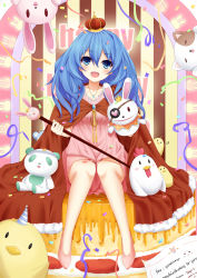 1girl :d absurdres artist_name bare_legs bird blue_eyes blue_hair blush cape chicken confetti creature crown date_a_live dated dress eyepatch full_body fur_trim happy_birthday hat head_tilt highres holding_staff jewelry long_hair looking_at_viewer mini_crown necklace neps-l open_mouth party_hat pink_dress red_cape shoes sitting slippers smile staff striped stuffed_animal stuffed_bunny stuffed_cat stuffed_chicken stuffed_toy teddy_bear vertical-striped_background vertical_stripes wavy_hair yoshino_(date_a_live) yoshinon
