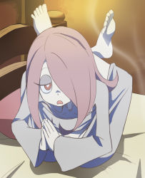 1girl barefoot bed breasts cleavage contortion d: feet flexible full_body hair_over_one_eye hands_together haruyama_kazunori headboard little_witch_academia long_hair nightgown no_panties open_mouth pillow pubic_hair red_eyes smoke solo sucy_manbavaran toes yoga