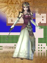 1girl 3d animated animated_gif brown_hair earrings gloves pointy_ears princess_zelda sword the_legend_of_zelda twilight_princess zelda_musou