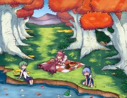 4girls :d ange antennae apple ascot autumn_leaves basket blanket blonde_hair blue_hair bow bowtie cape cirno dress eyes_closed feet_in_water fish food frog fruit grass green_hair hair_bow hair_ribbon hat long_sleeves lying multiple_girls mystia_lorelei on_back open_mouth outdoors peeking picnic pink_hair plate puffy_short_sleeves puffy_sleeves ribbon river rumia shirt short_hair short_sleeves sitting smile soaking_feet team_9 touhou tree water white_shirt wings wriggle_nightbug |_|