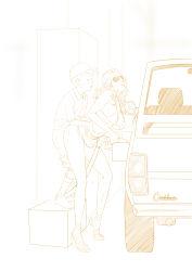 1boy 1girl absurdres age_difference baseball_cap bikini_top breasts erect_nipples eyes_closed hat hetero highres large_breasts lips long_hair monochrome navel original parted_lips sex shota simple_background sketch skirt skirt_lift straight_shota sunglasses sweat white_background zuburoku