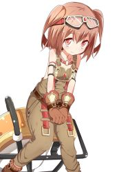 1girl armlet bare_shoulders beize_(garbage) brown_eyes brown_hair gloves goggles goggles_on_head highres looking_at_viewer ole_tower overalls rammer_(ole_tower) short_hair short_twintails simple_background smile solo twintails