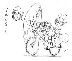 1boy 1girl 80s bicycle decapitation highres kiki majo_no_takkyuubin monochrome murata_yuusuke o_o oldschool propeller simple_background sketch tombo translation_request