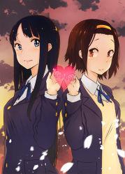 2girls akiyama_mio black_hair blue_eyes brown_eyes brown_hair gensokigou heart k-on! long_hair multiple_girls pinky_swear school_uniform tainaka_ritsu