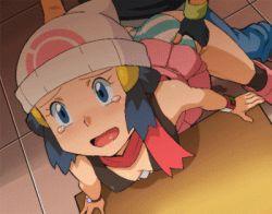 animated animated_gif ass blue_eyes blue_hair boots bracelet clothed_sex doggystyle gloves hikari_(pokemon) panties panties_aside pokemon ryunryun satoshi_(pokemon) sex skirt striped_panties tears torso_grab