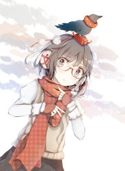 1girl alternate_costume animal animal_on_head bespectacled bird blush crow dutch_angle earmuffs fingerless_gloves glasses gloves hat long_sleeves looking_at_viewer nail_polish nakaikane parted_lips plaid plaid_scarf pom_pom_(clothes) puffy_sleeves red-framed_glasses red_eyes red_gloves scarf shameimaru_aya short_hair skirt string sweater_vest tokin_hat touhou upper_body