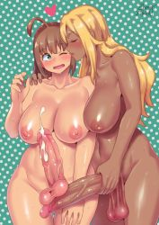 2017 2girls ahoge blonde_hair blush breasts brown_hair couple cum dark_skin dated ejaculation eyebrows_visible_through_hair eyes_closed futanari green_eyes hand_on_another's_shoulder heart kamiya_midori large_breasts large_penis multiple_girls nude one_eye_closed opera_brest original penis sweat testicles zheng