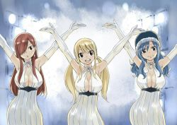 3girls :< arms_up blonde_hair blue_hair breasts cleavage dress earrings elbow_gloves erza_scarlet fairy_tail gloves hair_over_one_eye hat jewelry juvia_loxar looking_at_viewer lucy_heartfilia mashima_hiro multiple_girls official_art open_mouth red_hair smile twintails white_gloves
