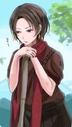 1boy :t blue_sky earrings japanese_clothes jewelry kashuu_kiyomitsu mole mole_under_mouth nail_polish red_eyes red_nails red_scarf scarf short_hair sky solo toi_(toiot) touken_ranbu tree