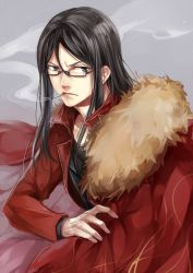 1boy bespectacled black_hair cape fate/zero fate_(series) glasses long_hair lord_el-melloi_ii older simple_background solo waver_velvet zaphylla