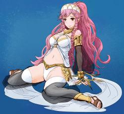 1girl breasts cleavage dancer fire_emblem fire_emblem:_kakusei nintendo olivia_(fire_emblem) pink_hair solo spread_legs thighhighs wariza yoshina_yoshimori