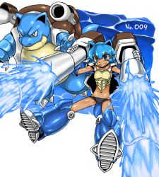 1girl bikini_bottom blastoise blue_eyes blue_hair breastplate cannons kitsune-tsuki_(getter) midriff personification pokemon pokemon_(creature) short_hair tortoise turtle