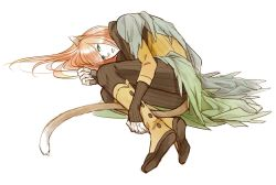 1boy animal_ears boots cat_ears cat_tail fuhito green_eyes lamento long_hair male_focus orange_hair shui_(lamento) simple_background solo tail very_long_hair white_background