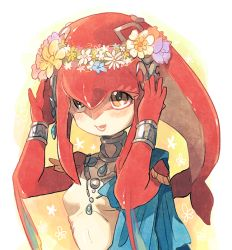 1girl :d arms_up bangs bare_shoulders blush bracer breasts choker collarbone daisy fins fish_girl flower hair_between_eyes hair_ornament head_wreath jewelry kinako_(462) lips long_hair looking_up midriff mipha monster_girl multicolored necklace no_eyebrows no_nipples no_nose open_mouth orange_eyes pink_lips princess red_hair red_skin shiny shiny_skin sidelocks small_breasts smile solo tareme teeth the_legend_of_zelda the_legend_of_zelda:_breath_of_the_wild upper_body white_skin zora