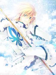 blonde_hair blue_eyes coat fay_d_flourite fur_trim male maro_(nikeneko523) short_hair solo tsubasa_chronicle