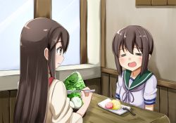 2girls =_= akagi_(kantai_collection) ame. brown_eyes brown_hair eating eyes_closed food fubuki_(kantai_collection) japanese_clothes kantai_collection long_hair multiple_girls school_uniform serafuku spoon