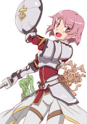 3girls :d animal_ears armor arms_up blush cat_ears cowboy_shot hair_ornament hairclip leafa lisbeth lisbeth_(sao-alo) more_deban multiple_girls open_mouth pink_eyes pink_hair pointy_ears ponytail profile shield short_hair side silica silica_(sao-alo) simple_background smile standing sword_art_online weapon white_background