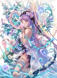 1girl :o armlet bangs bare_shoulders blunt_bangs blush bracelet breasts crystal dress euryale fate/hollow_ataraxia fate_(series) flower from_side hair_flower hair_ornament hairband headdress heart jewelry kneeling leaf lolita_hairband long_hair looking_at_viewer looking_to_the_side mirror open_mouth purple_eyes purple_hair purple_rose rose small_breasts solo thighlet torino_akua twintails very_long_hair white_dress