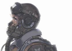 1girl backlighting black_eyes blonde_hair bomber_jacket commentary goggles goggles_on_head helmet mask military military_uniform original parachute pilot portrait profile siqi_(miharuu) soldier solo uniform world_war_ii