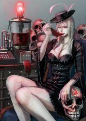 1girl breasts brown_eyes cleavage dress eating hat highres jittsu long_hair looking_at_viewer original pale_skin saliva saliva_trail skull solo steampunk white_hair