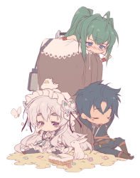 1boy 2girls ahoge akari_acura bandaged_hands basket belt bird black_legwear blue_eyes blue_hair blush blush_stickers boots bunny butterfly butterfly_hair_ornament chaika_trabant chick cloth coffin dress drooling eyebrows eyebrows_visible_through_hair frilled_dress frills green_hair hair_intakes hair_ornament hairband hitsugi_no_chaika knee_boots kotamaru_(pajama_soft) lolita_hairband long_hair long_sleeves looking_at_another multiple_girls open_mouth ponytail puffy_long_sleeves puffy_sleeves purple_eyes rubbing_eyes short_hair silver_hair simple_background sleeping sleeping_upright tooru_acura white_background