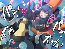 blue_hair blush boris_(noborhys) charizard clothed_sex crown fire_emblem fire_emblem:_kakusei flame happy_sex lucario lucina missionary pokemon super_smash_bros. text
