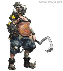 1girl absurdres bandaged_arm bandaged_leg black_bra black_panties bra breasts brown_eyes camouflage camouflage_shorts chains collarbone earrings female fingerless_gloves full_body gas_mask genderswap genderswap_(mtf) gloves highres holding hook jewelry large_breasts mask muhut navel overwatch panties plump ponytail roadhog_(overwatch) short_hair shorts simple_background single_glove single_pauldron skull solo spikes standing stomach_tattoo tattoo title_parody underwear white_background white_hair