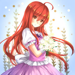 1girl dress fei_miao flower highres long_hair red_eyes red_hair shakugan_no_shana shana