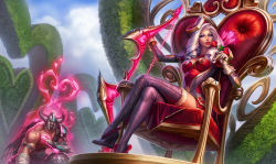 1boy 1girl alternate_costume alternate_hairstyle arm_strap armor arrow arrow_through_heart ashe_(league_of_legends) blue_eyes boots bow_(weapon) breasts cleavage drill_hair flower gloves hair_ornament heart_hair_ornament heartseeker_ashe helmet high_heel_boots high_heels highres horned_helmet kneeling league_of_legends legs_crossed lipstick long_hair makeup michelle_hoefener official_art puffy_sleeves red_lipstick red_rose rose silver_hair sitting thigh_boots thighhighs throne tryndamere weapon