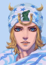 1boy blonde_hair blue_eyes hat johnny_joestar jojo_no_kimyou_na_bouken rin_(louis_m) solo steel_ball_run