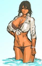 bikini black_hair bracelet breasts dark_skin jewelry large_breasts nameo_(judgemasterkou) navel open_shirt original sea swimsuit wet