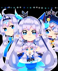 :3 blue_eyes chiliarch_(elsword) elsword horns luciela_r._sourcream noblesse_(elsword) pointy_ears uni_unya white_hair