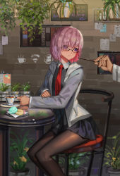 1boy 1girl black-framed_eyewear black_legwear cafe chair cup fate/grand_order fate_(series) food formal fujimaru_ritsuka_(male) glasses grey_jacket hair_over_one_eye highres legs_together light_smile long_sleeves looking_at_another looking_back macaron makeup mascara miniskirt necktie no_symbol note out_of_frame pantyhose pink_hair plant pocky potted_plant purple_eyes purple_skirt saucer shielder_(fate/grand_order) short_hair sitting sk_tori skirt solo_focus table tea teacup