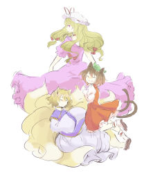 3girls animal_ears ankle_cuffs black_shoes blonde_hair brown_hair cat_ears chen choker dress eyes_closed fox_ears fox_tail green_hat hands_together happy hat hat_ribbon jumping long_hair long_sleeves looking_at_viewer looking_back mob_cap multiple_girls multiple_tails no_earrings no_hat open_mouth puffy_long_sleeves puffy_sleeves purple_dress purple_eyes red_skirt ribbon short_hair short_sleeves simple_background sketch skirt smile tabard tail tamaki_hakobe touhou two_tails vest white_background white_dress wide_sleeves yakumo_ran yakumo_yukari