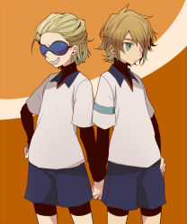 2boys bike_shorts blonde_hair dylan_keith glasses green_eyes hand_holding inazuma_eleven inazuma_eleven_(series) male_focus mark_kruger multiple_boys rococolove short_hair turtleneck