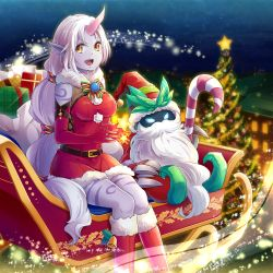 1boy 1girl beard bell belt black_skin blue_eyes boots breasts candy candy_cane christmas christmas_tree elbow_gloves facial_hair gift gloves hat horn konomoto_(knmtzzz) league_of_legends long_hair looking_at_viewer open_mouth ornament pointy_ears ponytail purple_skin red_boots red_gloves sack santa_hat sitting sleigh smile soraka star veigar very_long_hair white_hair yellow_eyes