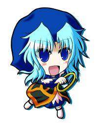 1girl blue_eyes blush chibi hood jewelry kumoi_ichirin open_mouth ring solo touhou white_background yani_tama