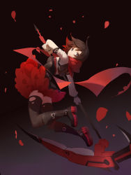 1girl absurdres bangs bare_shoulders black_boots black_hair black_legwear blue_eyes boots breasts closed_mouth expressionless floating_hair full_body highres holding holding_weapon looking_at_viewer medium_breasts petals red_flowers red_scarf ruby_rose rwby scarf scythe solo swept_bangs thighhighs thighs torn_clothes torn_thighhighs weapon
