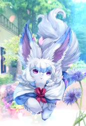 building colored fate/grand_order fate_(series) flower flower_pot four_(fate/grand_order) no_humans petals plant potted_plant purple_eyes semi_(delcatty) solo tree walking
