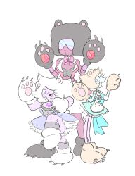 3girls adapted_costume afro amethyst_(steven_universe) animal_ears bear_ears black_hair blue_eyes breasts brown_hair cleavage dark_skin dress fang garnet_(steven_universe) gem gloves hair_over_one_eye highres looking_at_viewer midriff multiple_girls open_mouth pale_skin parody paw_gloves paw_shoes paws pearl_(steven_universe) pointy_nose purple_eyes purple_skin shoes sofia_davila steven_universe sunglasses yuri_kuma_arashi