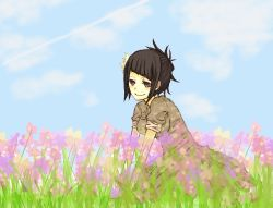 1girl aq_interactive black_eyes black_hair breasts dress flower manamia mistwalker nintendo short_hair smile the_last_story