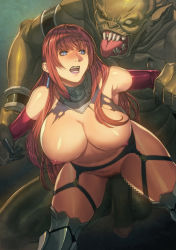 1girl blue_eyes breasts censored earrings elbow_gloves forced garter_belt gloves highres homare_(fool's_art) jewelry large_breasts long_hair monster mosaic_censoring nipples open_mouth original penis red_hair restrained shiny shiny_skin solo_focus tongue tongue_out torn_clothes
