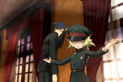 1boy 1girl belt black_hair blonde_hair brown_eyes drapes erich_von_rerugen eyelashes eyes_closed genya_(genya67) glasses hat highres indoors medal military military_hat military_uniform outstretched_arms smile tanya_degurechaff uniform window youjo_senki