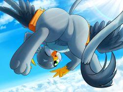 artist_request bird cloud flying furry green_eyes one_eye_closed open_mouth sky waving